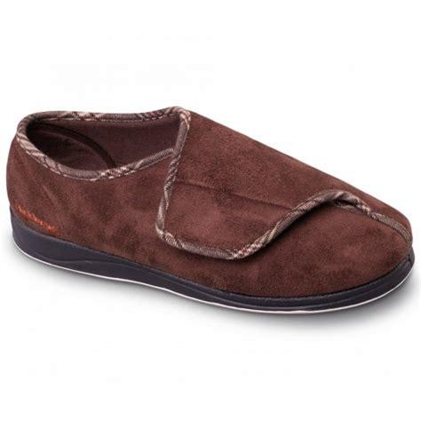 wide slippers padders chris mens microsuede velcro wide fit slippers
