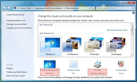 desktop themes greyed out restrict user access enforce windows 7 personalization