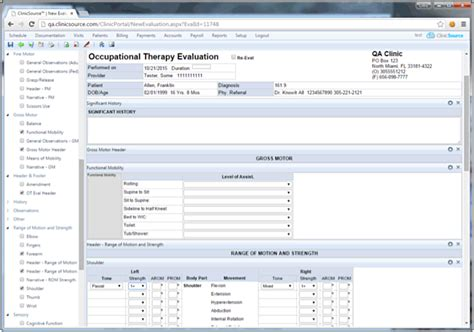 Occupational Therapy Practice Management Software Clinicsource Occupational Therapy Documentation Templates