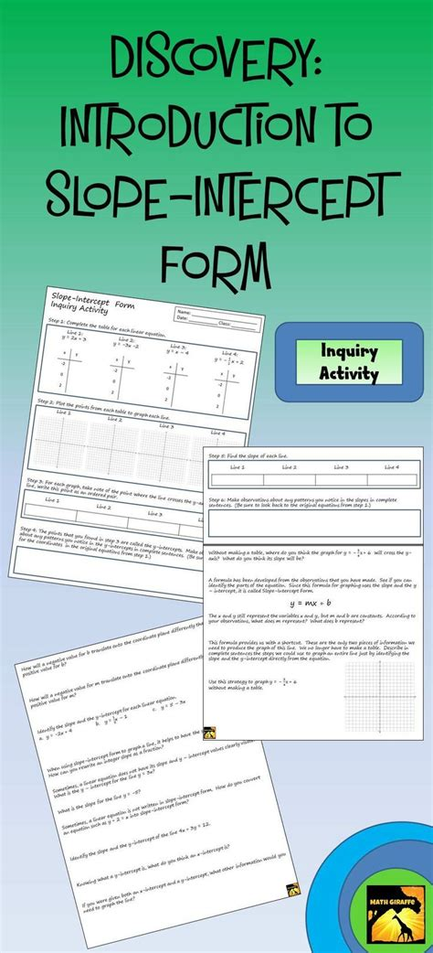 Inquiry Letter Lesson Plan Introducing Students To Slope Intercept Form Through Guided Discovery Inquiry Based Lesson