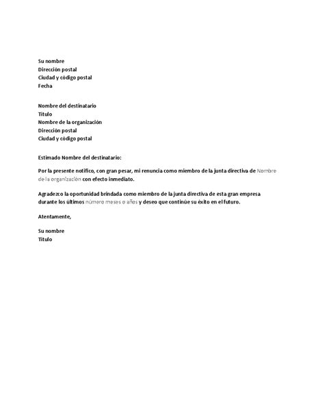 renuncia empleada domestica en mexico carta de renuncia de la junta directiva office templates