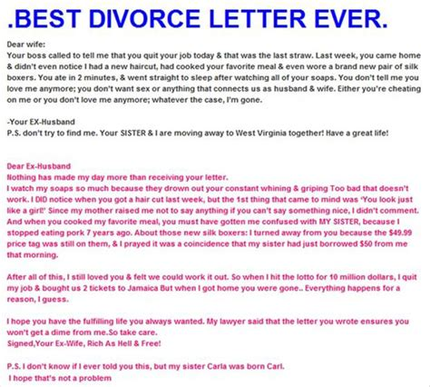 Divorce Letter Joke Z Best Divorce Letter Dump A Day