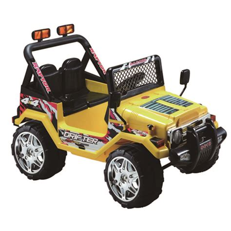 power wheels jeep yellow kidsquad 12v ride on car jeep wrangler yellow power