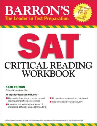 Barrons Sat Writing Workbook Review by Barron S Sat Critical Reading Workbook 14th Edition By Weiner Green M A Paperback