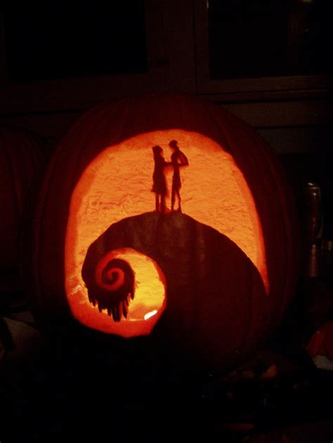 jack pumpkin jack and sally on the hill nightmare before christmas by