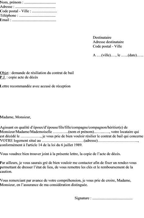 Exemple De Lettre Bail Modele Lettre Resiliation Bail Suite Deces Document