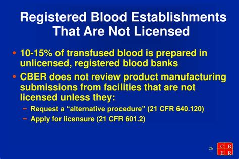 cber bank ppt blood establishment registration and product listing