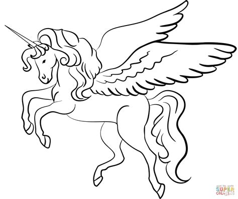 Coloring Page Unicorn With Wings by Winged Unicorn Coloring Page Free Printable Coloring Pages