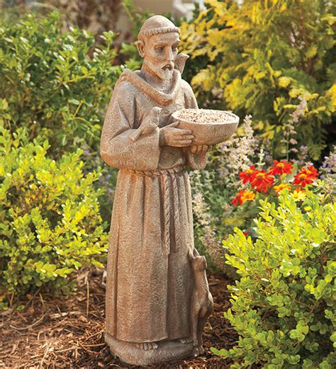 resin saint francis of assisi garden bird feeder statue