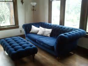 blue living room chairs blue tufted ottoman it is gorgeous midnight blue velvet 1000 for the sofa and ottoman