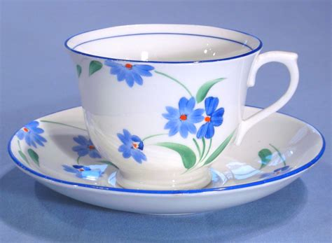 Cup On The Plate painted deco bone china tea trio sold