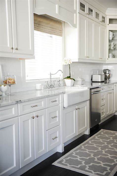 white cabinets white countertop kitchen rug kitchen cabinets white