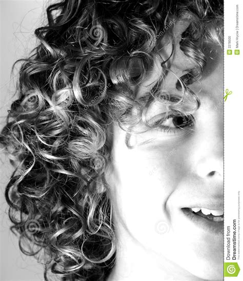 Teen Boy With Curly hair stock photo. Image of natural
