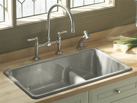 sink for kitchen kohler k 6625 0 iron tones smart divide self rimming or