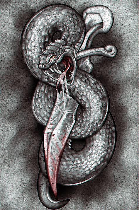 snake and dagger tattoo how to draw a snake and dagger step by step