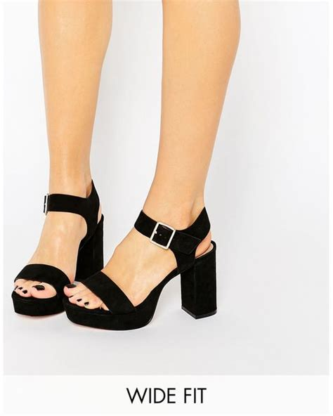 asos harbour wide fit platform sandals in black lyst