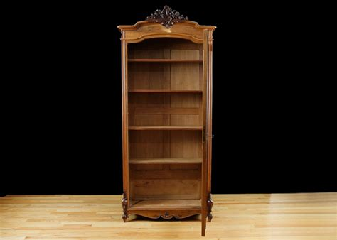 Bookshelves Antique Antique Bookcase In Walnut With Glass Panel