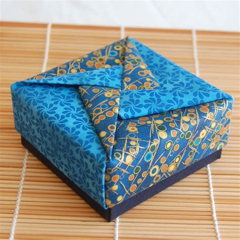 Fabric Origami Box - fabric folding on folded fabric ornaments