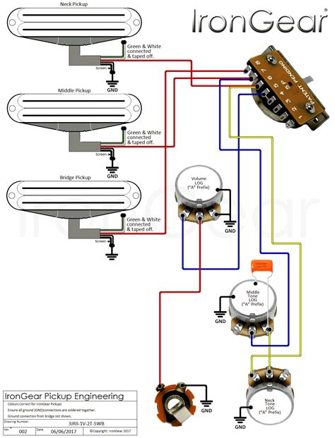 1 humbucker 2 single coil 5 way switch wiring diagram