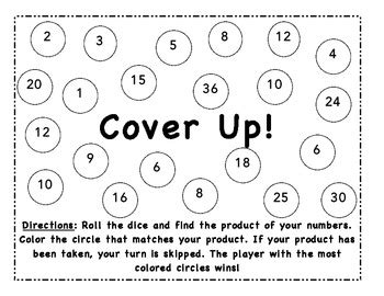printable multiplication dice games multiplication cover up dice game by lauren booth tpt