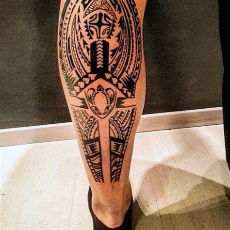 tribal tattoo legs masculine guys leg tribal tattoos meow