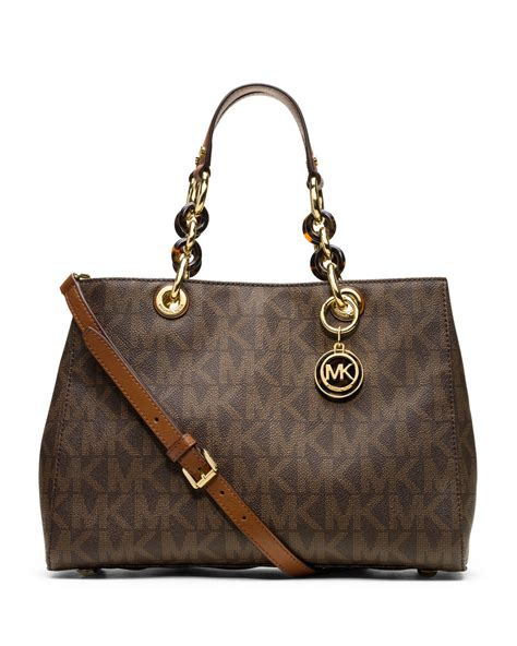 M Hael Kors Cynthia michael kors michael medium cynthia logo satchel in brown