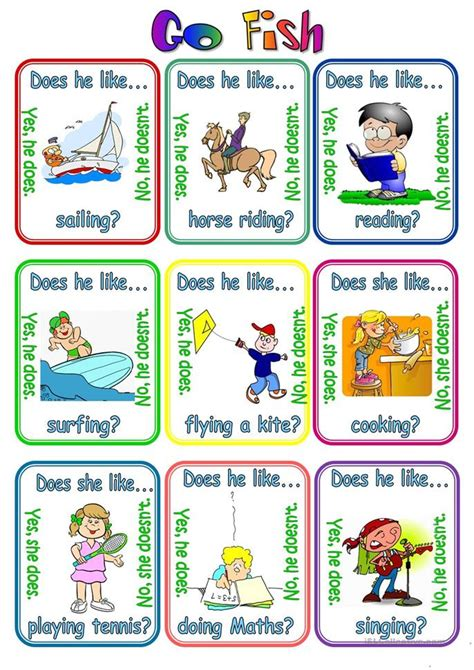 printable go fish card games go fish does s he like worksheet free esl