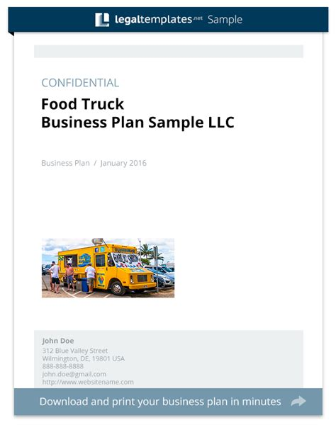 business plan template food truck food truck business plan sle templates
