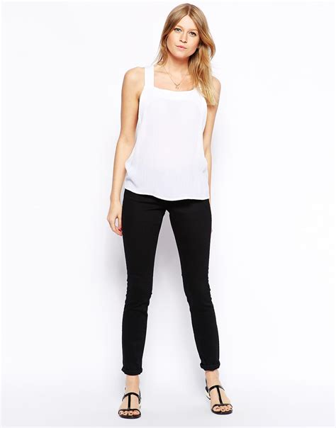 white swing cami asos thick strap swing cami top in white lyst