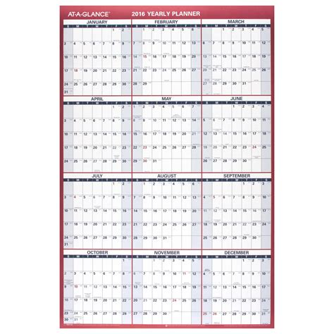 large paper wall calendar calendar template 2016 amazon com at a glance paper yearly wall calendar 2016