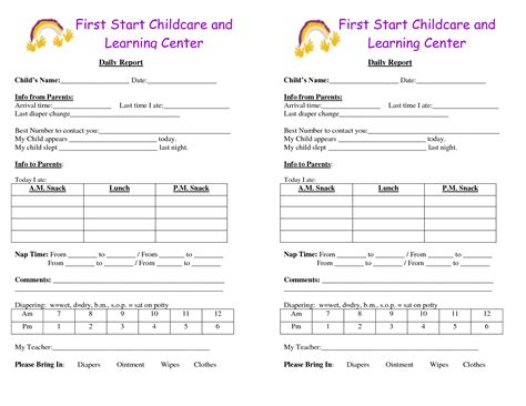 toddler daily report template best photos of baby daily report sheet day care infant