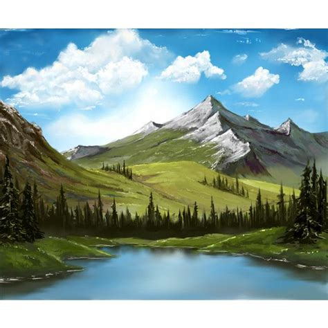 Bob Ross Forest Lake Landscape Mountain Nature Scenery Sky