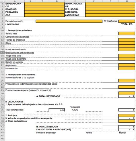 plantilla de nomina para rellenar c 243 mo hacer n 243 minas y seguros sociales en excel