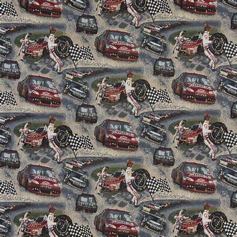 upholstery fabric cars racing cars pit crew race track themed tapestry upholstery