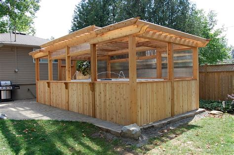 Enclosed Backyard by Enclosed Cedar Pergola For Outdoor Swim Spa Traditional