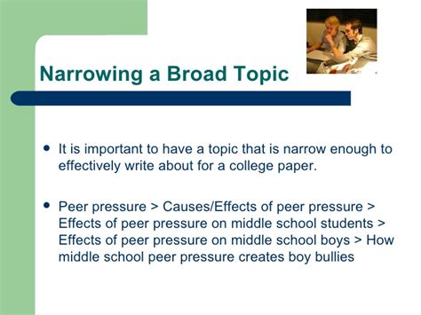 Effects Of Peer Pressure Essay by Topic Development