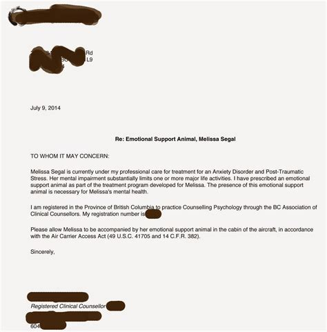 Emotional Support Animal Letter For Flying Exle sle letter for emotional support sle business