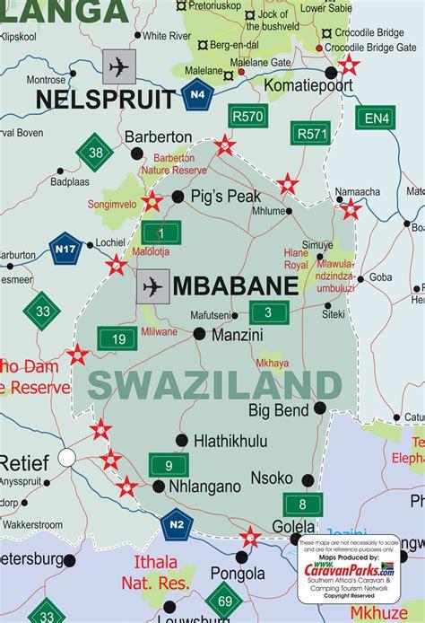 swaziland map swaziland map caravanparks maps caravan parks resorts