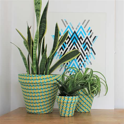 green  yellow patterned fabric covered indoor plant pot