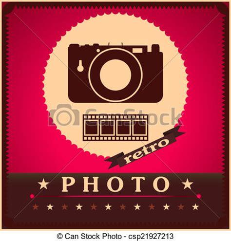 vector clip art of photography camera and film retro