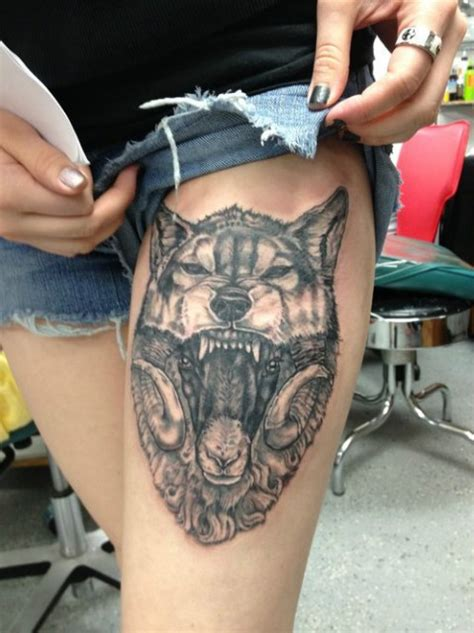 wolf thigh tattoo awesome sheep images part 2 tattooimages biz