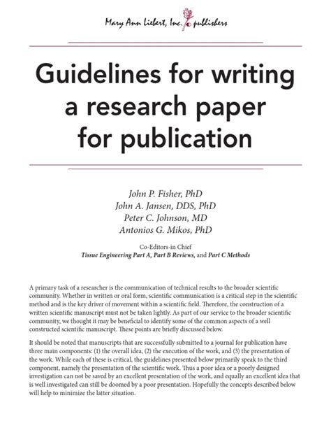 Guidelines In A Research Paper - guidelines for writing a research paper for publication