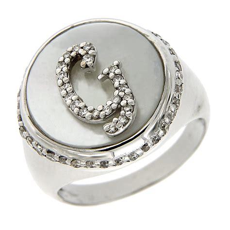 gioielli con lettere anello con lettera g diamanti e madreperla italiana
