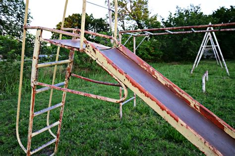 old metal swing set vintage playground equipment with fun pictures