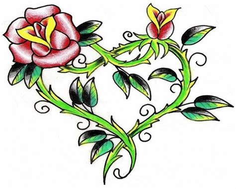 hearts and flowers tattoo designs flower and tattoos clipart best