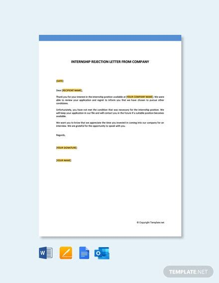 internship rejection letter company template