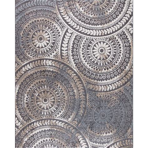 Outdoor Trellis Rug Home Decorators Collection Spiral Medallion Cool Gray 7 Ft