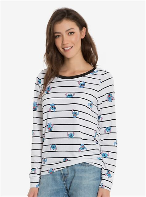 Sweater Rajut Lilo Stitch disney lilo stitch striped womens crew sweater boxlunch