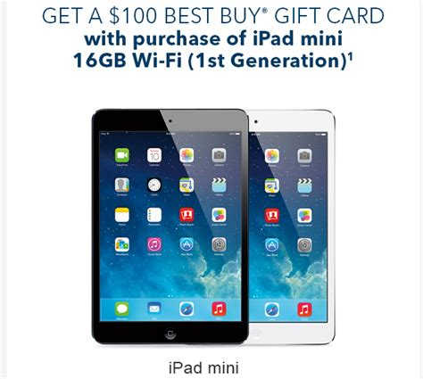 Ipad Gift Card With Purchase - best buy offering 100 gift card with ipad mini purchase today and tomorrow