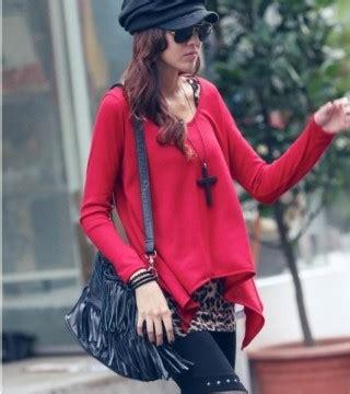 Blouse Wanita 588 baju wanita import leopard merah panjang model terbaru